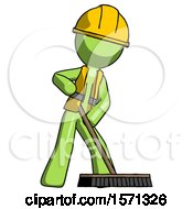 Green Construction Worker Contractor Man Cleaning Services Janitor Sweeping Floor With Push Broom