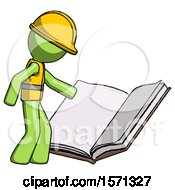 Poster, Art Print Of Green Construction Worker Contractor Man Reading Big Book While Standing Beside It