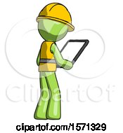 Green Construction Worker Contractor Man Looking At Tablet Device Computer Facing Away