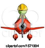 Green Construction Worker Contractor Man In Geebee Stunt Plane Front View