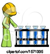 Green Construction Worker Contractor Man Using Test Tubes Or Vials On Rack