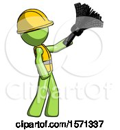 Green Construction Worker Contractor Man Dusting With Feather Duster Upwards