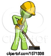 Green Construction Worker Contractor Man Cleaning Services Janitor Sweeping Side View
