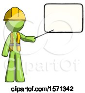 Green Construction Worker Contractor Man Giving Presentation In Front Of Dry Erase Board