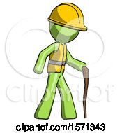 Green Construction Worker Contractor Man Walking With Hiking Stick