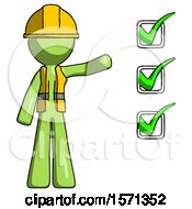 Green Construction Worker Contractor Man Standing By List Of Checkmarks