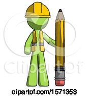 Green Construction Worker Contractor Man With Large Pencil Standing Ready To Write