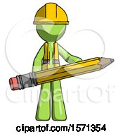 Green Construction Worker Contractor Man Writer Or Blogger Holding Large Pencil