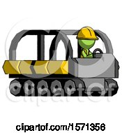 Green Construction Worker Contractor Man Driving Amphibious Tracked Vehicle Side Angle View
