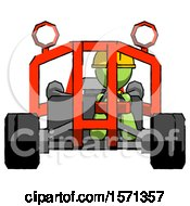 Green Construction Worker Contractor Man Riding Sports Buggy Front View