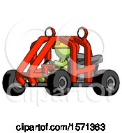Green Construction Worker Contractor Man Riding Sports Buggy Side Angle View