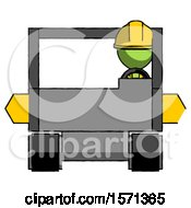 Green Construction Worker Contractor Man Driving Amphibious Tracked Vehicle Front View