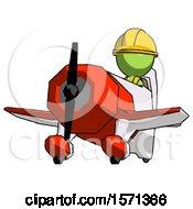 Green Construction Worker Contractor Man Flying In Geebee Stunt Plane Viewed From Below