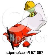 Green Construction Worker Contractor Man In Geebee Stunt Plane Descending View