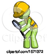 Green Construction Worker Contractor Man Inspecting With Large Magnifying Glass Left