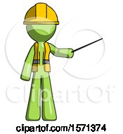 Green Construction Worker Contractor Man Teacher Or Conductor With Stick Or Baton Directing