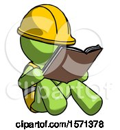 Poster, Art Print Of Green Construction Worker Contractor Man Reading Book While Sitting Down