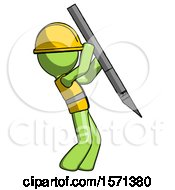 Green Construction Worker Contractor Man Stabbing Or Cutting With Scalpel