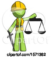 Green Construction Worker Contractor Man Justice Concept With Scales And Sword Justicia Derived