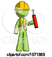 Green Construction Worker Contractor Man Holding Dynamite With Fuse Lit
