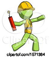 Green Construction Worker Contractor Man Throwing Dynamite