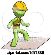 Green Construction Worker Contractor Man On Postage Envelope Surfing