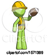 Green Construction Worker Contractor Man Holding Football Up