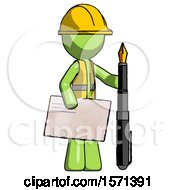 Green Construction Worker Contractor Man Holding Large Envelope And Calligraphy Pen