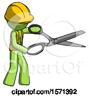 Green Construction Worker Contractor Man Holding Giant Scissors Cutting Out Something