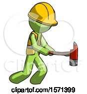 Green Construction Worker Contractor Man With Ax Hitting Striking Or Chopping