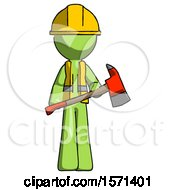 Green Construction Worker Contractor Man Holding Red Fire Fighters Ax