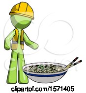 Green Construction Worker Contractor Man And Noodle Bowl Giant Soup Restaraunt Concept