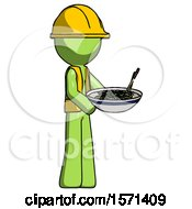 Green Construction Worker Contractor Man Holding Noodles Offering To Viewer