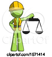 Green Construction Worker Contractor Man Holding Scales Of Justice