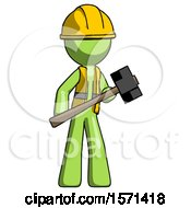 Green Construction Worker Contractor Man With Sledgehammer Standing Ready To Work Or Defend