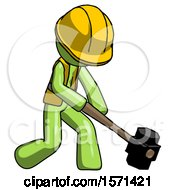 Green Construction Worker Contractor Man Hitting With Sledgehammer Or Smashing Something At Angle