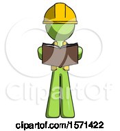 Poster, Art Print Of Green Construction Worker Contractor Man Reading Book While Standing Up Facing Viewer