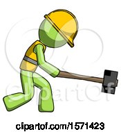 Green Construction Worker Contractor Man Hitting With Sledgehammer Or Smashing Something