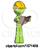 Poster, Art Print Of Green Construction Worker Contractor Man Reading Book While Standing Up Facing Away