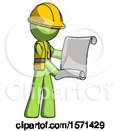 Green Construction Worker Contractor Man Holding Blueprints Or Scroll