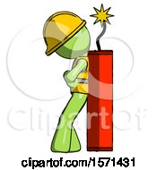 Green Construction Worker Contractor Man Leaning Against Dynimate Large Stick Ready To Blow