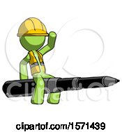 Green Construction Worker Contractor Man Riding A Pen Like A Giant Rocket