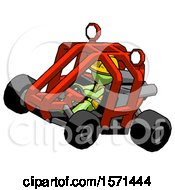 Green Construction Worker Contractor Man Riding Sports Buggy Side Top Angle View