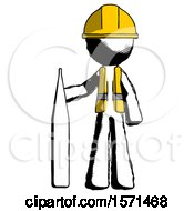 Ink Construction Worker Contractor Man Standing With Large Thermometer