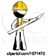 Ink Construction Worker Contractor Man Holding Large Scalpel