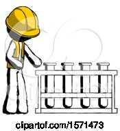 Ink Construction Worker Contractor Man Using Test Tubes Or Vials On Rack