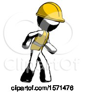 Ink Construction Worker Contractor Man Suspense Action Pose Facing Right