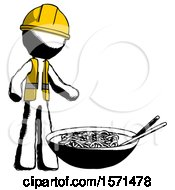Ink Construction Worker Contractor Man And Noodle Bowl Giant Soup Restaraunt Concept