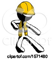 Ink Construction Worker Contractor Man Karate Defense Pose Right