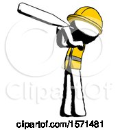 Ink Construction Worker Contractor Man Thermometer In Mouth